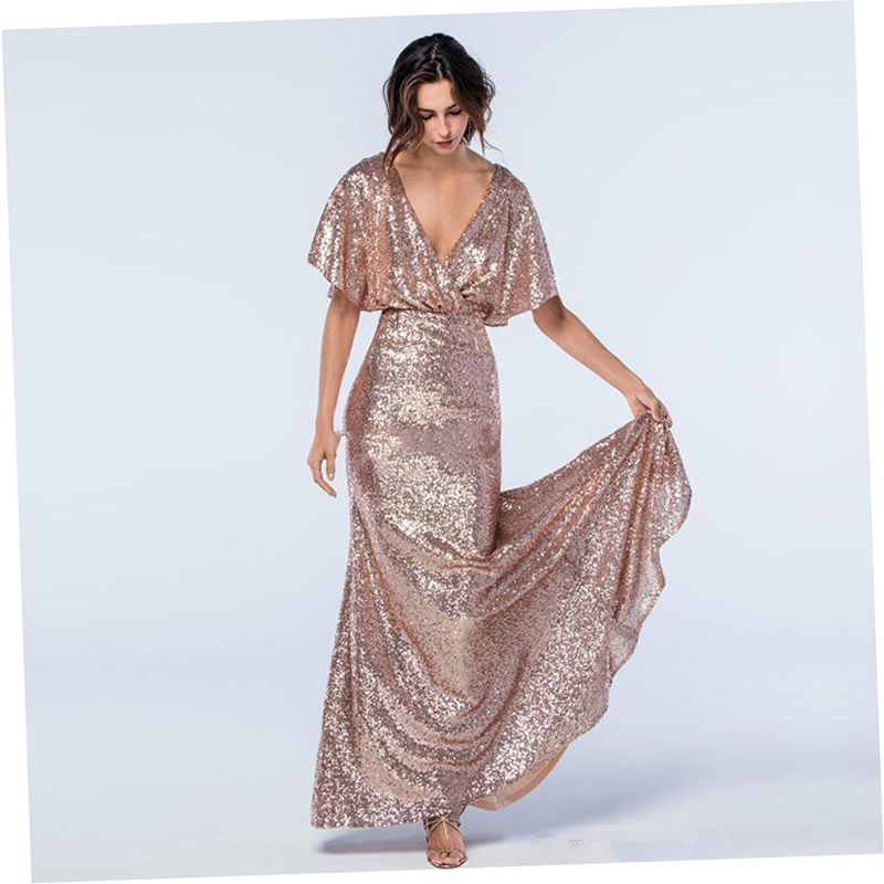 bf613cae53 Rose Gold Sequins Mermaid Prom Gowns Deep V Neck Short Sleeves Backless Evening  Gowns Formal Dress Long Wedding Guest Dress