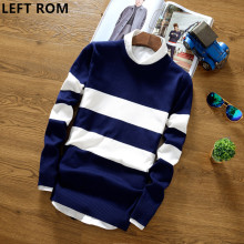 LEFT ROM2017 autumn fashion sweater hedging business casual cotton quality printing stripe sleeve head long sleeve Sweater coat