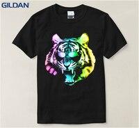 جديد أسلوب الجافة تناسب تي شيرت الرجال neon rainbow النمر الحيوان القطة السوداء الذكور بارد الصبي مريحة الرجال t تصاميم
