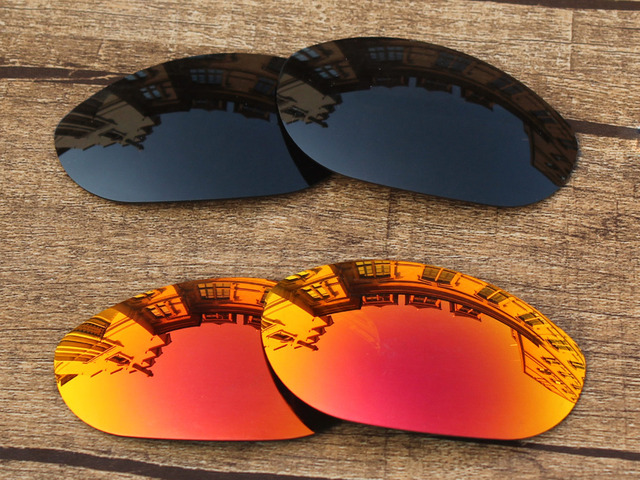 b8fd1a8b19cd Black   Fire Red 2 Pairs Polarized Replacement Lenses For Monster Dog Sunglasses  Frame 100%