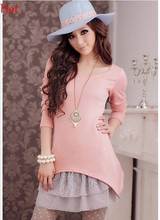 Knitted Lace 2 Pcs Tank Sweater Dresses Long Sleeve Loose Casual O Neck Tops Long Sleeve Autumn Pullover Winter Dress EU000127(China)