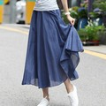2017 New Cotton and Linen Half Women Skirt Summer A-line Irregular Long Skirts Bohemian Solid Color Cotton Puffs Big Skirt