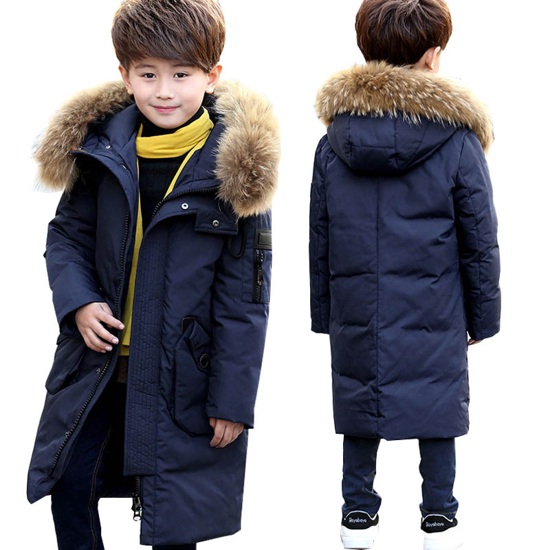 цены на Kids Winter Coats White Duck Down Jacket for Boys Down Parkas Teen Boys Long Coats Outerwear Children Clothing Boys Costume 12 Y