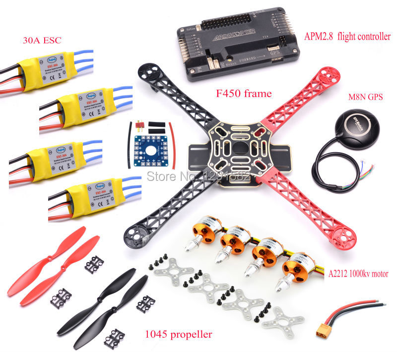 F450 Quadcopter Rack Kit Frame + APM2.8 controller board + 6M / 7M / M8N GPS + 2212 1000KV + 30A ESC 1045 propeller for S500