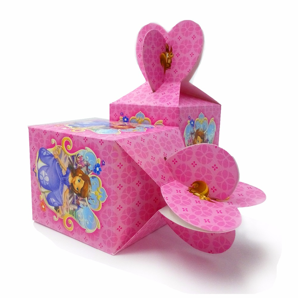 6pcsset Beaueiful Princess Sofia Paper candy Box Cartoon Happy Birthday Decoration Theme Party Supply Festival Kids Girl
