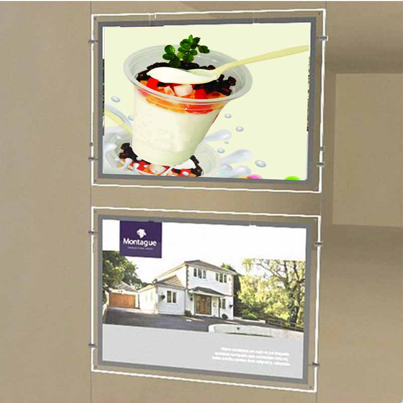 (2unit/column) A3 Single Sided Wall & Ceiling Hanging Illuminated Window Poster Frame,Led Light Pockets For Properties