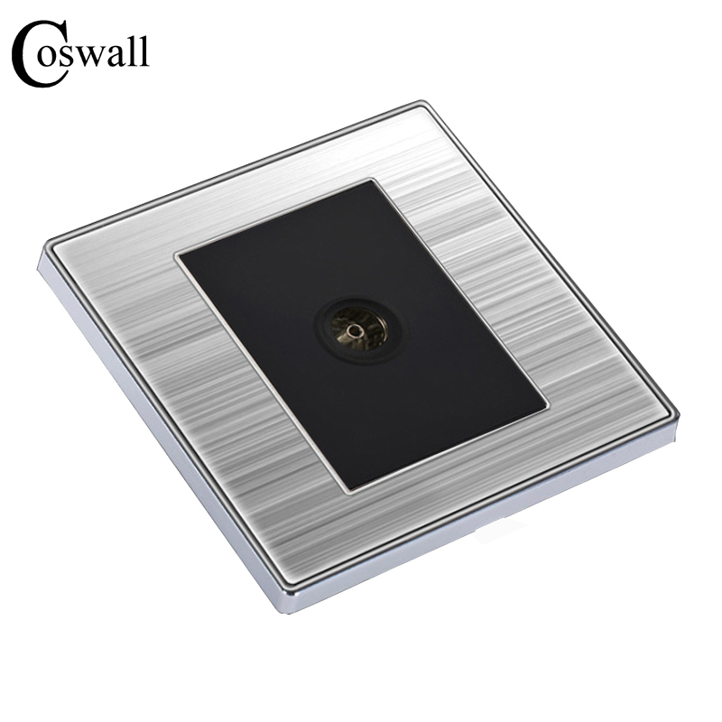 COSWALL Single TV Luxury Wall Socket Power Outlet Enchufe Stainless Steel Brushed Silver Panel Electrical Plug Soquete