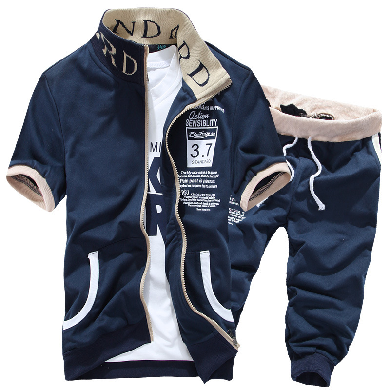 2018 Summer Cardigan Mens Sporting Two Pieces Short Sleeves Hoodies Tracksuit and Short Pants Sweat Set Casual Mens Sportswear
