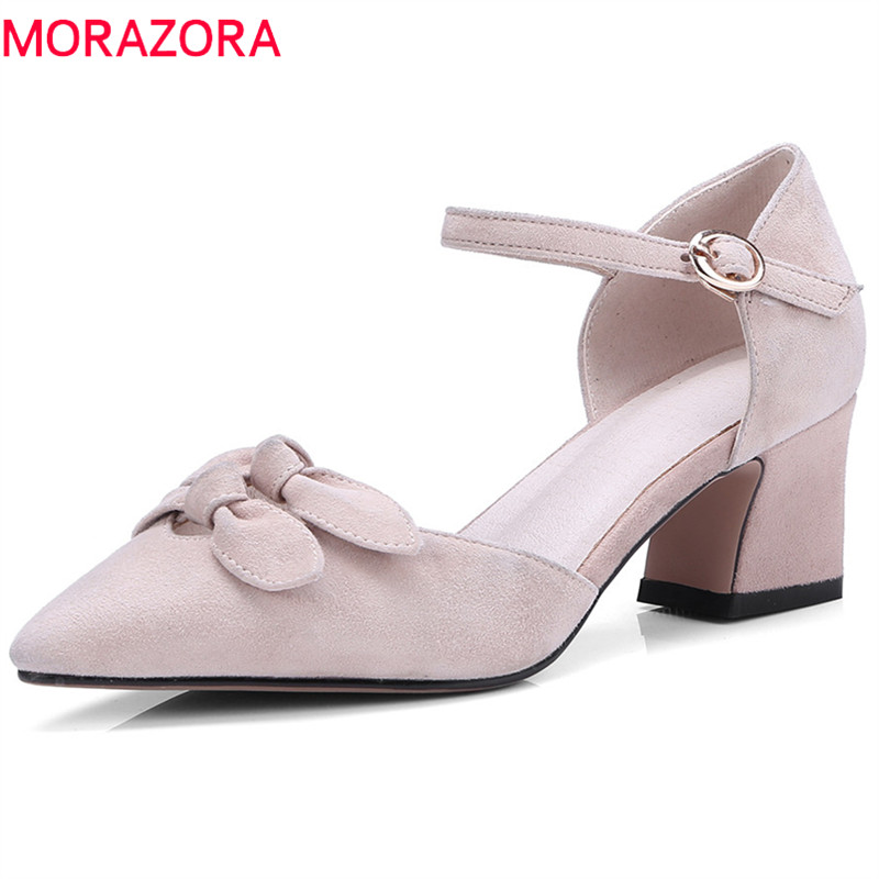 MORAZORA 2018 new style suede leather pointed toe summer shoes fashion party wedding pumps women shoes high heels shoes woman morazora hot sale new arrival pointed toe women sandals high heels shoes woman summer shoes party sexy fashion popular