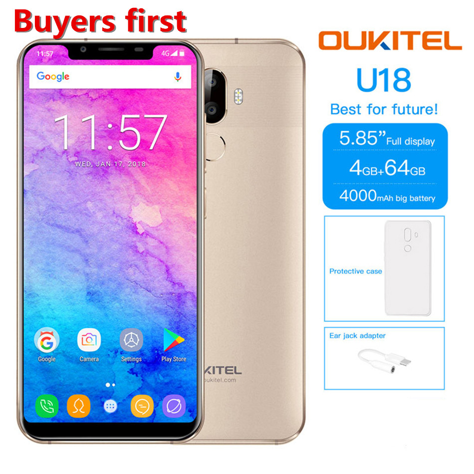 Original OUKITEL U18 4G Mobile Phones Android 7.0 RAM 4GB ROM 64GB MTK6750 Octa Core 4000mAh 21:9 5.85 Face ID 16MP smartPhone