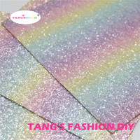 10pcs 20x22cm High Quality chunky glitter light color rainbow leather/Synthetic leather/faux leather