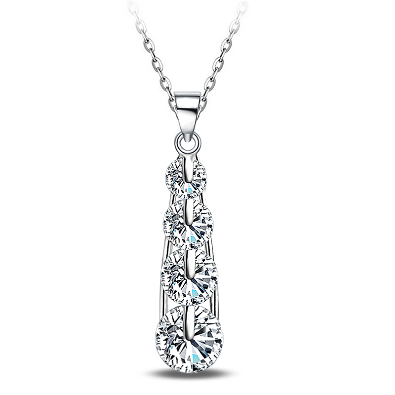 New S925 Silver Color Pendant Necklace Water Drop Shape Clear Zircon with Tiny Cubic CZ Jewelry of Silver P249