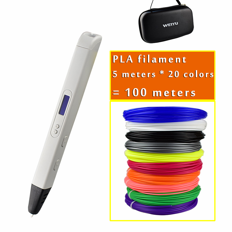 2019 New RP800A 3D Professional Printer Pen with OLED Screen 3d Drawing Digital Pen for Doodling Art Craft Making and Education(China)