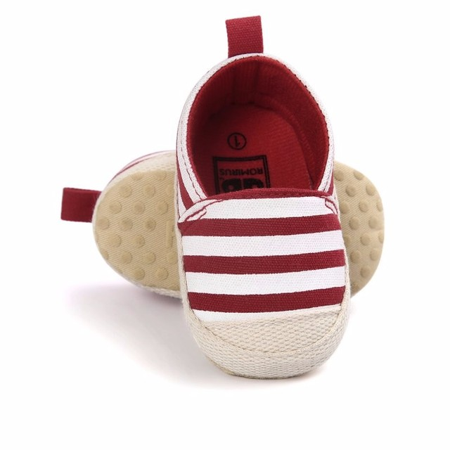 2019 Fashion Blue Striped Baby Boys Baby Girls Shoes Lovely Infant First Walkers Cute Soft Sole Toddler Baby Shoes Hot Sale 4