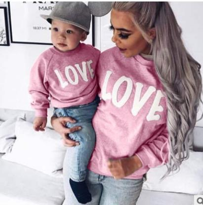 Mommy And Son Family Matching Mother Son Collar Tops Clothes Letter Printing Long Sleeve Casual Coat Kids Parent Child Outfits in Matching Family Outfits from Mother Kids
