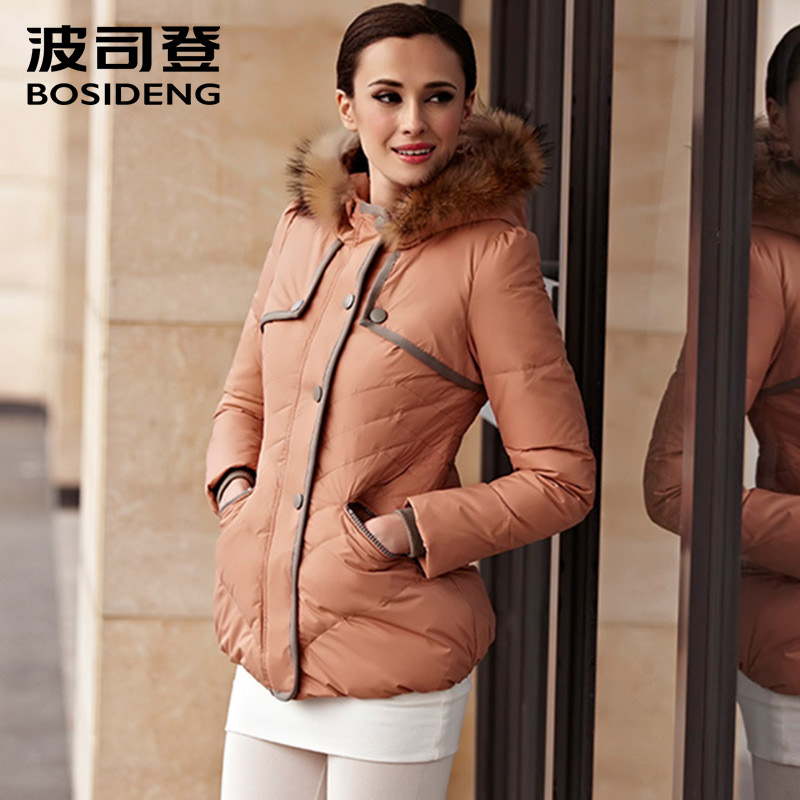 BOSIDENG early Winter duck   Down   Jacket women real Fur Collar Hooded   Coat     down     coat   regular   coat   thin and light warm b1301180