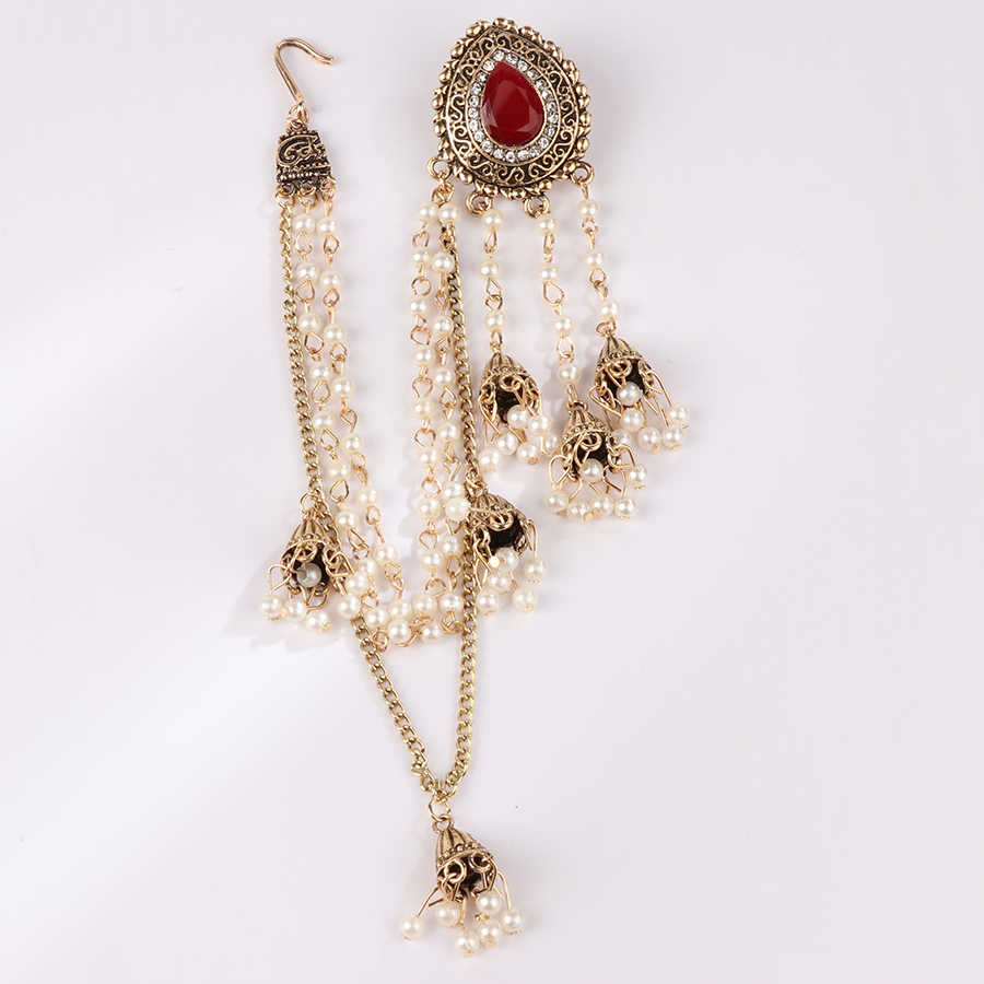 Indian Jewelry Earring Chain Headdress Antique Gold Pearl Tel Crystal Earrings For Women Vintage Wedding