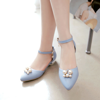 2017 Retro Preppy Chic Style Handmade Flats Shoes Women Two Pointed Toe String Bead Two Piece