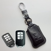 Leather Key Fob Cover Case for Honda 2018 Civic 2016 Accord 2017 2019 Pilot Car Key Holder Protective Shell Accessories