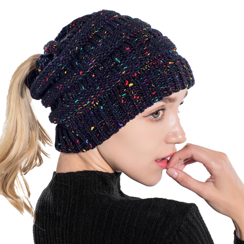 Moon Winter Woman Hat Flower Line Motley Wool Knitted Hole Cap Ponytail Braid Skiing Fashion Warm Youth Wild Leisure   Skullies