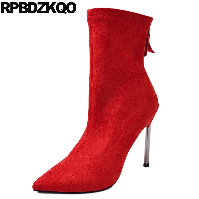 Red Ankle Pointed Toe Comfortable Suede Autumn Fashion Shoes High Heel Metal Short Side Zip Boots Fetish Stiletto New Female front lace up casual ankle boots autumn vintage brown new booties flat genuine leather suede shoes round toe fall female fashion