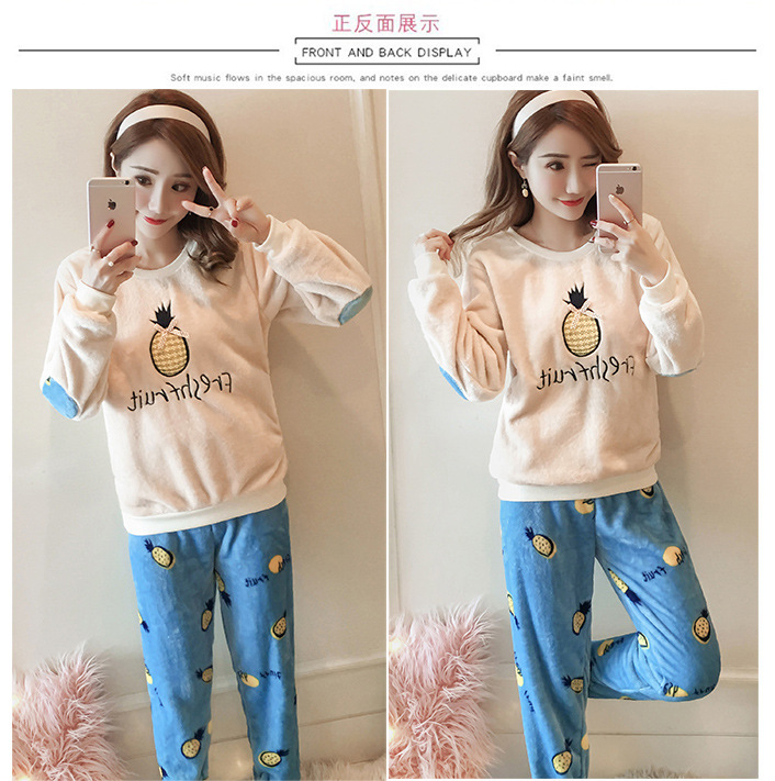 High Quality Women Pajama Sets Winter Soft Thicken Cute Cartoon Flannel Sleepwear 2 pcs/Set Tops + Warm Pants Home Clothes Mujer 111