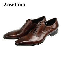 57545b54d Moda italiana Homens Formais Sapatos Oxford Lace Up sapatos de Casamento  Sapatos de Couro Homem de Negócios de Trabalho Do Dedo .