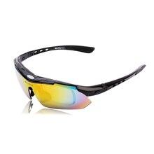 WOLFBIKE Polarized Men's Sports Bicycle Glasses Bike Sunglasses Cycling Eyewear Sun Glasses Driving Skiing Goggles 5 Lens Black