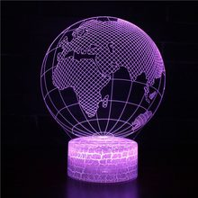 Globe Series Acrylic Panel Design 3D LED Night Light illusion Table Desk Lamp Christmas Gift for Child Kids Home Decor Drop Ship(China)