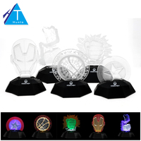 3D Optical Illusion Desk Night Light Captain America Iron Man Helmet Head Design Party Grow Decor
