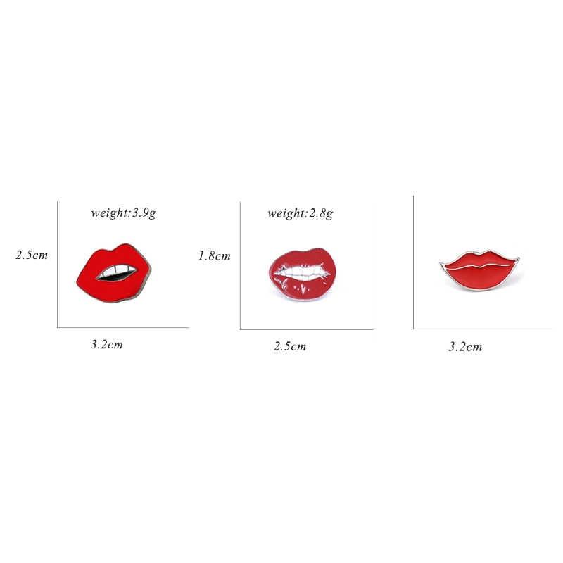 3 Pcs/set Hot Sale Fashion Lucu Seksi Bibir Merah Enamel Pin Bros Kreatif Kartun Lencana Dekorasi Pin Bros untuk Wanita pria