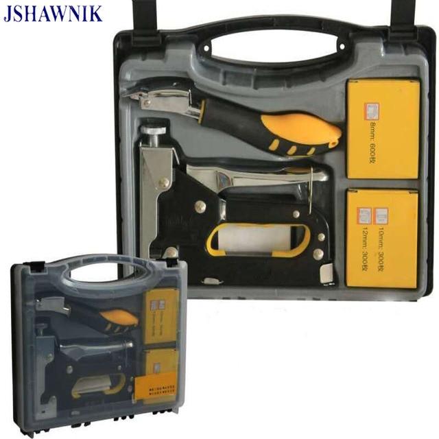 JSHAWNIK Nail Staple Gun Furniture Stapler For Wood Door Upholstery Framing  With 1200 Nails Manual Nail