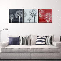 3pcs/Set Black White Red Tree Modern Abstract Hand painted Oil Paintings Canvas Home Wall Art Decor No Frame