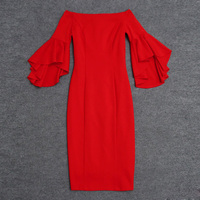 Newest Fashion Summer 2017 Designer Runway Dress Women's Butterfly Sleeve Slash Neck Red Pencil Dress
