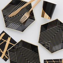Black Series Gold Blocking Disposable Tableware Party Paper Plates Napkins Cups Straws Birthday Party Wedding Christmas Decor