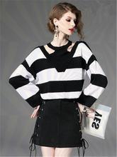 Женский полосатый свитер и высокая Талия Мини Мода 2 шт платье