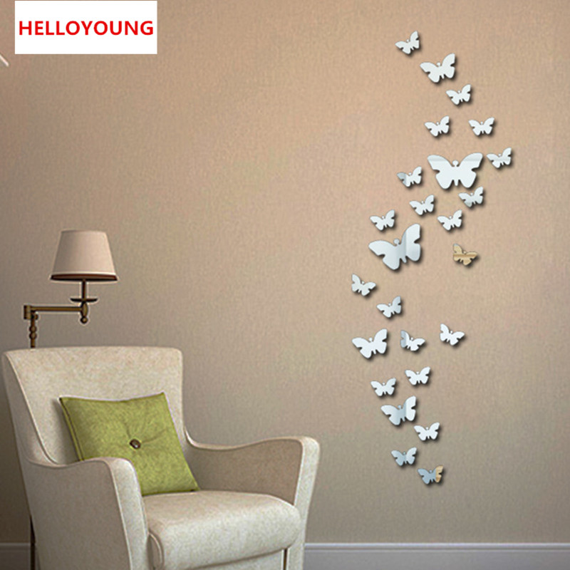 QT-0046 New 30pcs Decorative Vinyl 3d Butterfly Wall Decor Poster Vintage  Wallpaper Mirror Wall Stikers For Wall Decoration