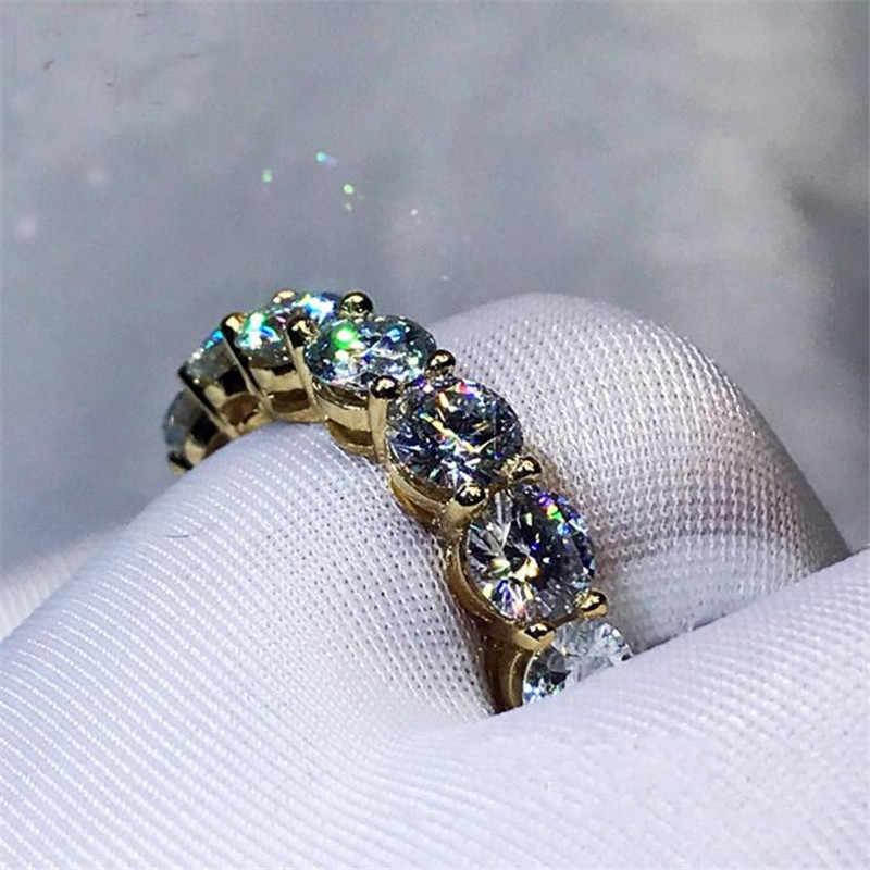 3 สีแหวนรอบ 4 มม.Sona zircon CZ สีเหลืองทอง 925 เงินตกแต่งหมั้นแหวนสำหรับผู้หญิงผู้ชายเครื่องประดับ