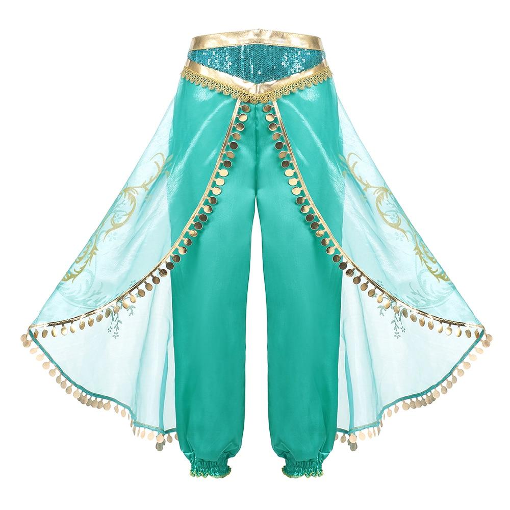 PaMaBa Girls Princess Jasmine Party Wear Fancy Clothing Set Top Pants Headband Child Aladdin and the Magic Lamp Costume Dress up