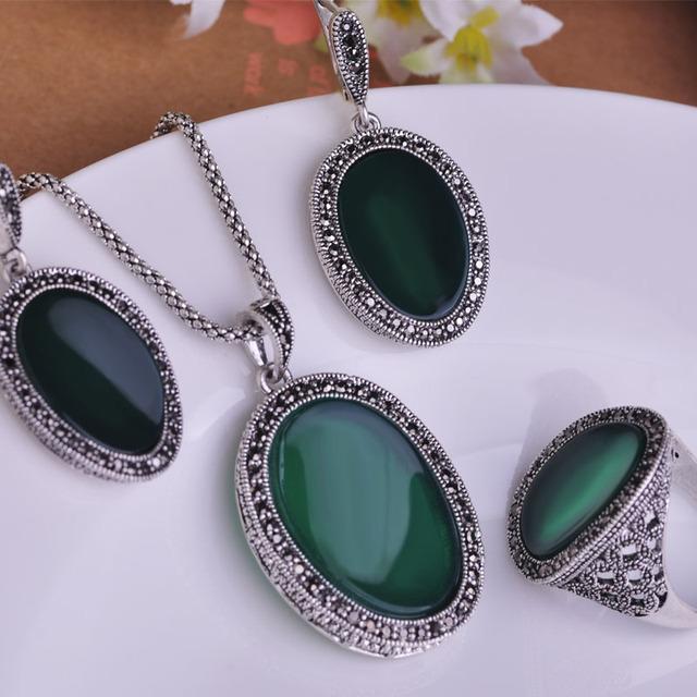 Mais novo estilo de colares pingentes e brincos conjuntos de jóias personalidade do Vintage Colar de jóias Pendientes Anel