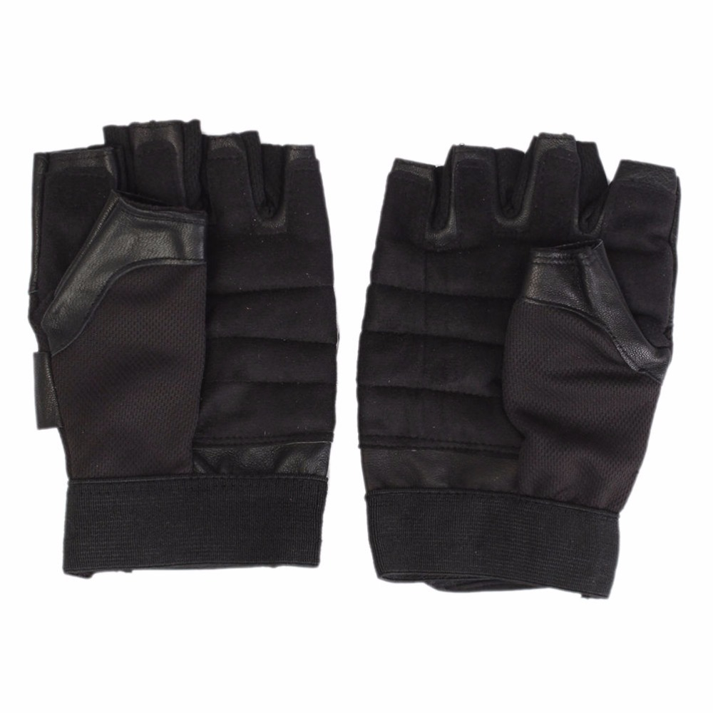 Weight Lifting Gloves With Wrap Around Wrist: 1Pair Men Black PU Leather Weight Lifting Gym Gloves