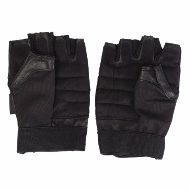 Black Leather Weight Lifting Workout Gloves