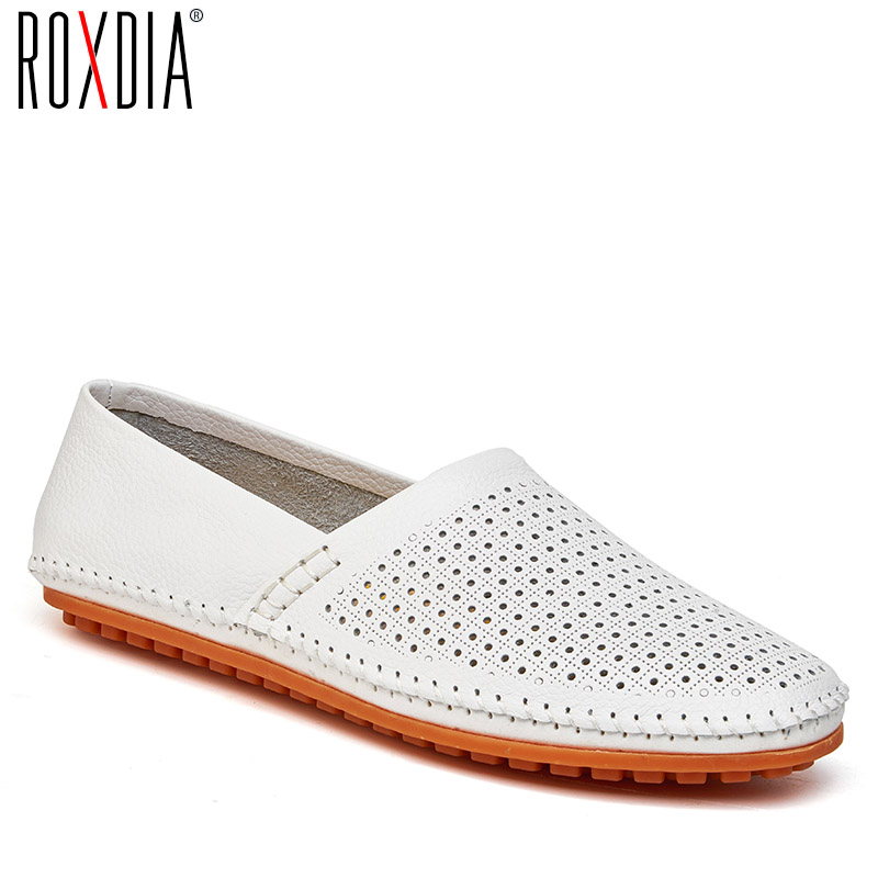 ROXDIA plus size 39-47 summer genuine leather breathable casual men loafers new fashion men's driving shoes man flats RXM035 men luxury brand new genuine leather shoes fashion big size 39 47 male breathable soft driving loafer flats z768 tenis masculino