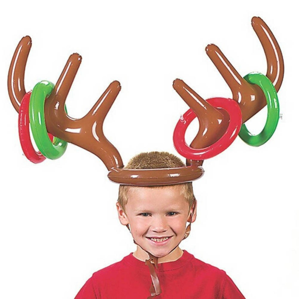 Christmas Toy Children Inflatable Santa Reindeer Antler Hat Ring Christmas Holiday Party Festival Supplies New
