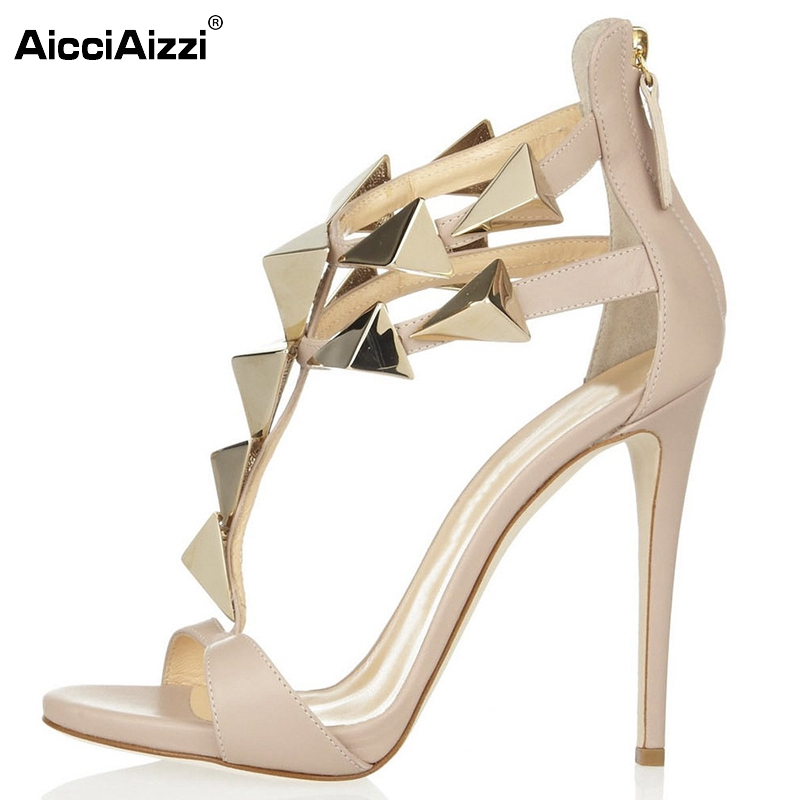 Size 35-46 Women High Heel Sandals Ladies Nude Color Thin High Heel Zipper Shoes Woman Brand Rivets Sandal Footwear Shoes B042