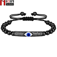 NIDIN Classic Elbow Handmade Women Bracelet With 4mm Round Copper Beads Braiding Macrame Adjustable  For Female Jewelry Gift