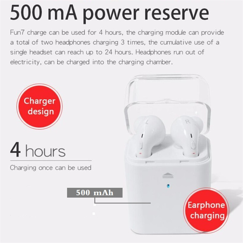 2017 Twins TWS Fun 7 Bluetooth headset Wireless Earphone Earbuds with Charging Box for iPhone 7 Air Pods Samsung Huawei Xiaomi dacom tws mini double ear bluetooth 4 2 headset true wireless sport earphone with charging box for iphone 7 7s xiaomi samsung lg