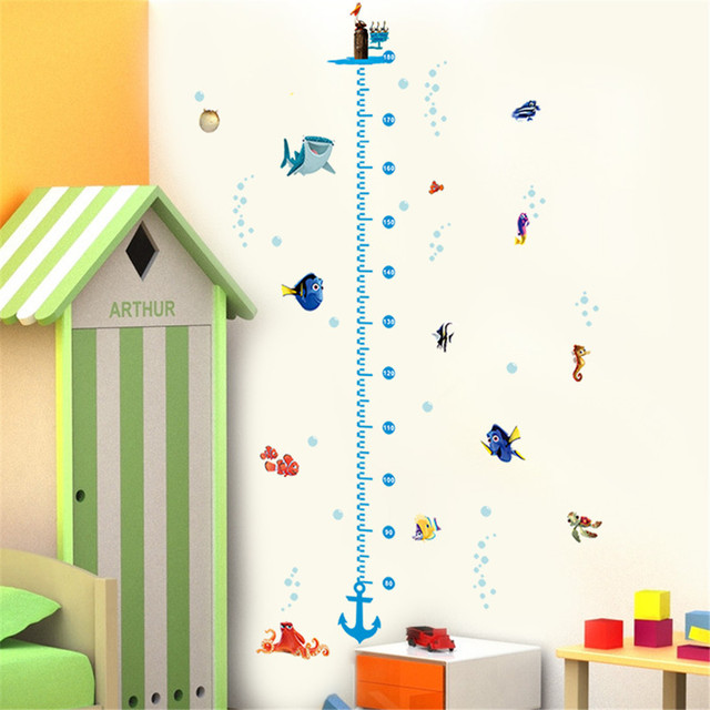 diy growth chart height measure wall sticker home decal finding nemo cartoon sea fish underwater world