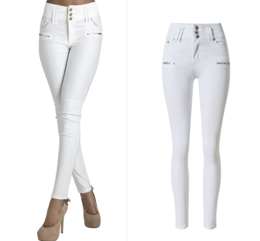 High Waist White Jeans Women Slim Skinny Plus Size Jeans Femme  Fake Zippers Trousers Elasticity Push Up Pencil Pants Mujer 2017 nydj new optic white women s size 8 five pocket seamed slim skinny jeans $110