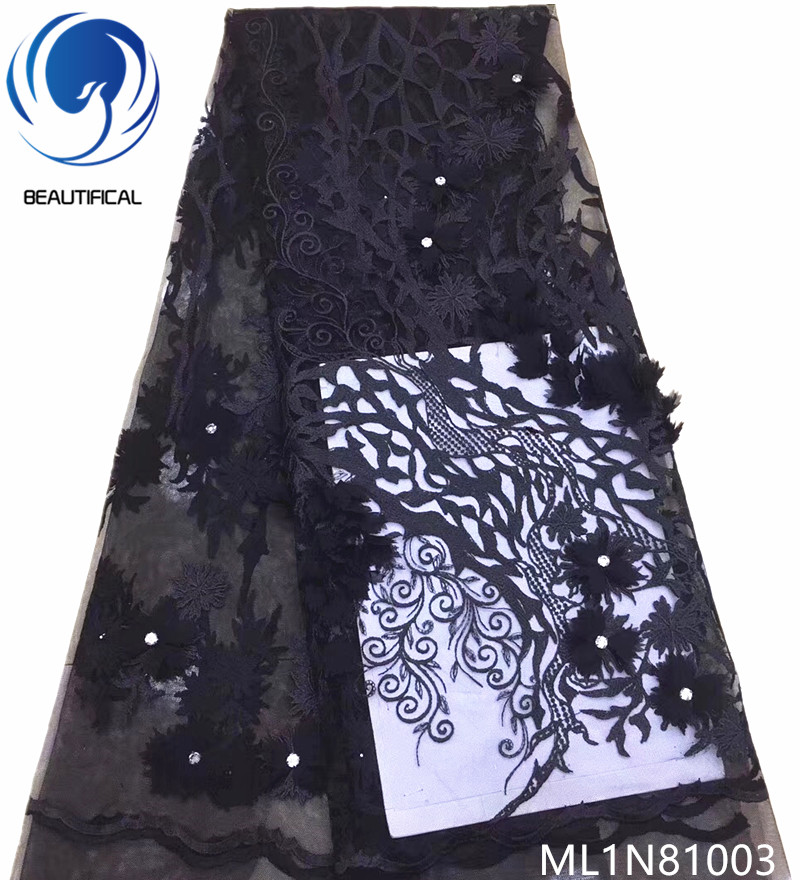 BEAUTIFICAL black french lace fabric wedding lace fabric 3d flower fabric 5 yards/lot 3d lace material with beads ML1N810BEAUTIFICAL black french lace fabric wedding lace fabric 3d flower fabric 5 yards/lot 3d lace material with beads ML1N810